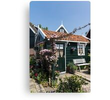 Dutch Country Charm - a Beautiful Little Cottage with Flowers Canvas Print