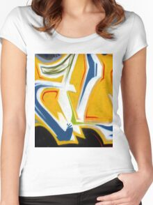 Abtag Yellow blue stripe Women's Fitted Scoop T-Shirt