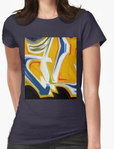 Abtag Yellow blue stripe Womens Fitted T-Shirt