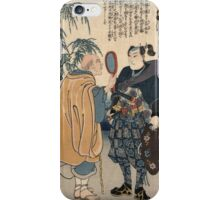 Utagawa Kuniyoshi - Miyamoto Musashi And The Whale. Man portrait:  mask,  face,  man ,  samurai ,  hero,  costume,  kimono,  tattoos ,  sport,  sumo, macho iPhone Case/Skin