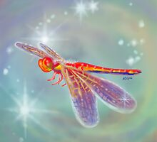 Glowing Dragonfly - Pillows & Totes by Audra Lemke