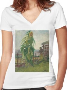 Vincent Van Gogh - Allotment With Sunflower. Country landscape: village view, country, buildings, house, rustic, farm, field, countryside road, trees, garden, flowers Women's Fitted V-Neck T-Shirt