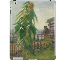 Vincent Van Gogh - Allotment With Sunflower. Country landscape: village view, country, buildings, house, rustic, farm, field, countryside road, trees, garden, flowers iPad Case/Skin