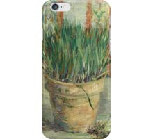 Vincent Van Gogh - Flowerpot With Garlic Chives. Still life with flowers: blossom, nature, botanical, floral flora, wonderful flower, plants, cute plant for kitchen interior, garden, vase iPhone Case/Skin