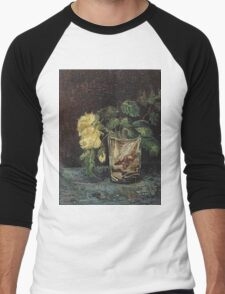 Vincent Van Gogh - Glass With Yellow Roses. Still life with flowers: flowers, blossom, nature, botanical, floral flora, wonderful flower, plants, cute plant for kitchen interior, garden, vase Men's Baseball ¾ T-Shirt
