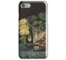 Vincent Van Gogh - Glass With Yellow Roses. Still life with flowers: flowers, blossom, nature, botanical, floral flora, wonderful flower, plants, cute plant for kitchen interior, garden, vase iPhone Case/Skin