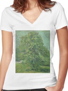 Vincent Van Gogh - Horse Chestnut Tree In Blossom. Forest view: forest , trees,  fauna, nature, birds, animals, flora, flowers, plants, field, weekend Women's Fitted V-Neck T-Shirt