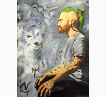 Portrait of a man with wolf Unisex T-Shirt
