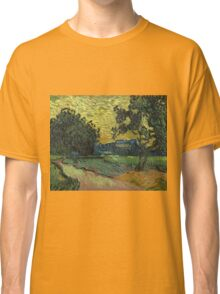 Vincent Van Gogh - Landscape At Twilight. Country landscape: village view, country, buildings, house, rustic, farm, field, countryside road, trees, garden, flowers Classic T-Shirt