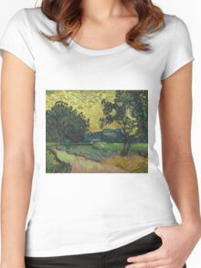 Vincent Van Gogh - Landscape At Twilight. Country landscape: village view, country, buildings, house, rustic, farm, field, countryside road, trees, garden, flowers Women's Fitted Scoop T-Shirt