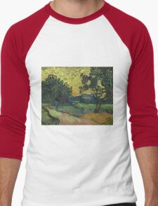 Vincent Van Gogh - Landscape At Twilight. Country landscape: village view, country, buildings, house, rustic, farm, field, countryside road, trees, garden, flowers Men's Baseball ¾ T-Shirt