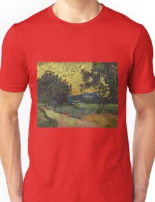 Vincent Van Gogh - Landscape At Twilight. Country landscape: village view, country, buildings, house, rustic, farm, field, countryside road, trees, garden, flowers Unisex T-Shirt