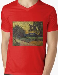 Vincent Van Gogh - Landscape At Twilight. Country landscape: village view, country, buildings, house, rustic, farm, field, countryside road, trees, garden, flowers Mens V-Neck T-Shirt