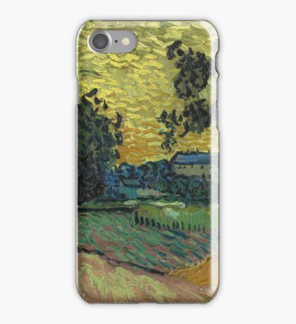Vincent Van Gogh - Landscape At Twilight. Country landscape: village view, country, buildings, house, rustic, farm, field, countryside road, trees, garden, flowers iPhone Case/Skin