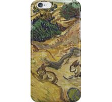 Vincent Van Gogh - Landscape With Rabbits. Field landscape: field landscape, nature, village, garden, flowers, trees, sun, rustic, countryside, hare, hares, summer iPhone Case/Skin