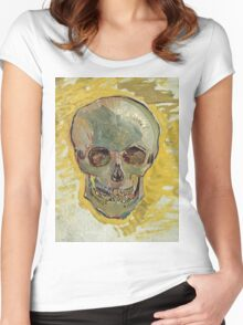 Vincent Van Gogh - Skull 2. portrait skull: skeletal, skeleton, smoking, teeth, mouth, skull, remains, ash, head, fantasy , death Women's Fitted Scoop T-Shirt