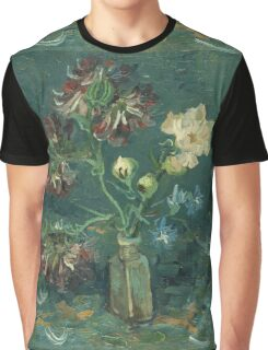 Vincent Van Gogh - Small Bottle With Peonies And Blue Delphiniums. Still life with flowers: blossom, nature, botanical, floral flora, wonderful flower, plants, plant, kitchen interior, garden, vase Graphic T-Shirt