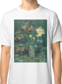 Vincent Van Gogh - Small Bottle With Peonies And Blue Delphiniums. Still life with flowers: blossom, nature, botanical, floral flora, wonderful flower, plants, plant, kitchen interior, garden, vase Classic T-Shirt