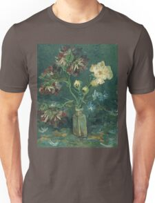 Vincent Van Gogh - Small Bottle With Peonies And Blue Delphiniums. Still life with flowers: blossom, nature, botanical, floral flora, wonderful flower, plants, plant, kitchen interior, garden, vase Unisex T-Shirt