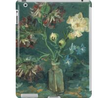 Vincent Van Gogh - Small Bottle With Peonies And Blue Delphiniums. Still life with flowers: blossom, nature, botanical, floral flora, wonderful flower, plants, plant, kitchen interior, garden, vase iPad Case/Skin