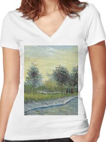 Vincent Van Gogh - Square Saint-Pierre At Sunset. Garden landscape: garden view, trees and flowers, blossom, nature, botanical park, floral flora, wonderful flowers, plants, cute plant, garden, flower Women's Fitted V-Neck T-Shirt