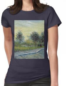 Vincent Van Gogh - Square Saint-Pierre At Sunset. Garden landscape: garden view, trees and flowers, blossom, nature, botanical park, floral flora, wonderful flowers, plants, cute plant, garden, flower Womens Fitted T-Shirt