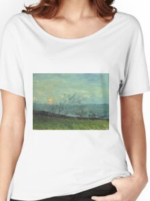 Vincent Van Gogh - Sunset In Montmartre. Urban landscape: city view, streets, building, house, trees, cityscape, architecture, construction, travel landmarks, panorama garden, buildings Women's Relaxed Fit T-Shirt