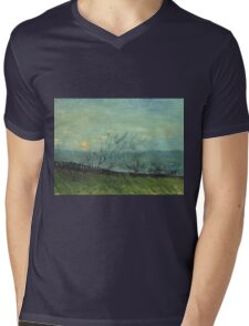 Vincent Van Gogh - Sunset In Montmartre. Urban landscape: city view, streets, building, house, trees, cityscape, architecture, construction, travel landmarks, panorama garden, buildings Mens V-Neck T-Shirt