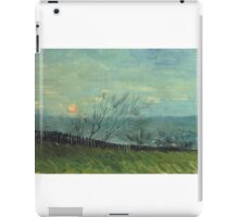 Vincent Van Gogh - Sunset In Montmartre. Urban landscape: city view, streets, building, house, trees, cityscape, architecture, construction, travel landmarks, panorama garden, buildings iPad Case/Skin