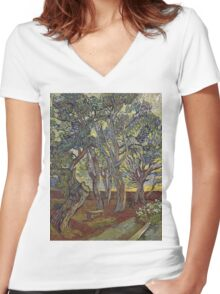 Vincent Van Gogh - The Garden Of Saint Paul S Hospital. Garden landscape: trees and flowers, blossom, nature, botanical park, floral flora, wonderful flowers, plants, cute plant, garden, flower Women's Fitted V-Neck T-Shirt