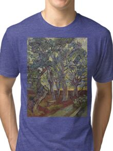 Vincent Van Gogh - The Garden Of Saint Paul S Hospital. Garden landscape: trees and flowers, blossom, nature, botanical park, floral flora, wonderful flowers, plants, cute plant, garden, flower Tri-blend T-Shirt
