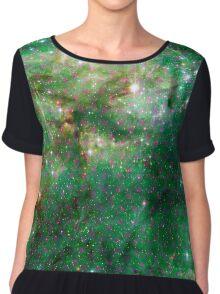 Tarantula Nebula Metatron's Cube Pattern Overlay [Green] Chiffon Top