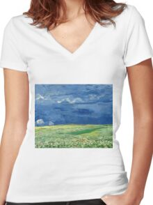 Vincent Van Gogh - Wheatfield Under Thunderclouds. Field landscape: field landscape, nature, village, garden, flowers, trees, sun, rustic, countryside, sky and clouds, summer Women's Fitted V-Neck T-Shirt