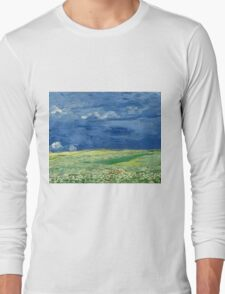 Vincent Van Gogh - Wheatfield Under Thunderclouds. Field landscape: field landscape, nature, village, garden, flowers, trees, sun, rustic, countryside, sky and clouds, summer Long Sleeve T-Shirt