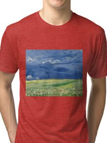 Vincent Van Gogh - Wheatfield Under Thunderclouds. Field landscape: field landscape, nature, village, garden, flowers, trees, sun, rustic, countryside, sky and clouds, summer Tri-blend T-Shirt