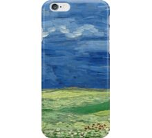 Vincent Van Gogh - Wheatfield Under Thunderclouds. Field landscape: field landscape, nature, village, garden, flowers, trees, sun, rustic, countryside, sky and clouds, summer iPhone Case/Skin