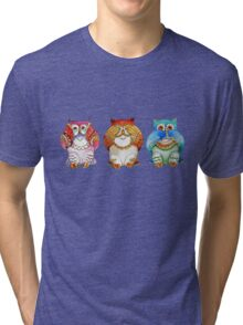 Three wise owls Tri-blend T-Shirt