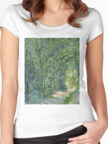 Vincent Van Gogh - Path In The Woods. Forest view: forest , trees,  fauna, nature, birds, animals, flora, flowers, plants, field, weekend Women's Fitted Scoop T-Shirt