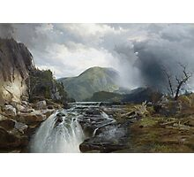 Thomas Moran - The Wilds Of Lake Superior. Mountains landscape: mountains, rocks, rocky nature, sky and clouds, trees, peak, forest, rustic, hill, travel, hillside Photographic Print