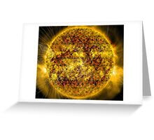 Three Magnetic Suns [Metatron's Cube Overlay] Greeting Card