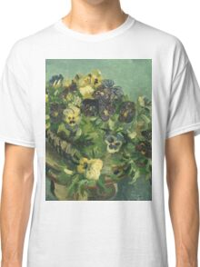 Vincent Van Gogh - Basket Of Pansies. Still life with flowers: flowers, blossom, nature, botanical, floral flora, wonderful flower, plants, cute plant for kitchen interior, garden, vase Classic T-Shirt