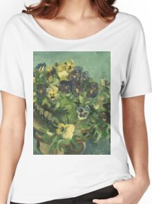 Vincent Van Gogh - Basket Of Pansies. Still life with flowers: flowers, blossom, nature, botanical, floral flora, wonderful flower, plants, cute plant for kitchen interior, garden, vase Women's Relaxed Fit T-Shirt