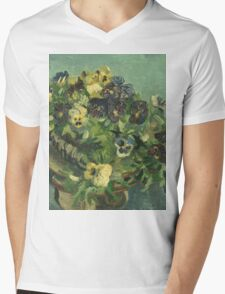 Vincent Van Gogh - Basket Of Pansies. Still life with flowers: flowers, blossom, nature, botanical, floral flora, wonderful flower, plants, cute plant for kitchen interior, garden, vase Mens V-Neck T-Shirt