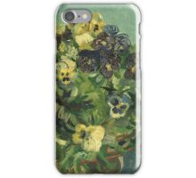 Vincent Van Gogh - Basket Of Pansies. Still life with flowers: flowers, blossom, nature, botanical, floral flora, wonderful flower, plants, cute plant for kitchen interior, garden, vase iPhone Case/Skin