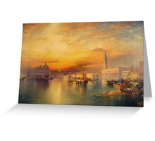 Thomas Moran - View Of Venice 1895. Urban landscape: city view, streets, building, house, Venice , cityscape, architecture, construction, travel landmarks, panorama garden, buildings Greeting Card