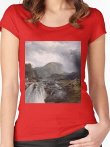 Thomas Moran - The Wilds Of Lake Superior. Mountains landscape: mountains, rocks, rocky nature, sky and clouds, trees, peak, forest, rustic, hill, travel, hillside Women's Fitted Scoop T-Shirt