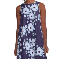White Daisy with Purple Center A-Line Dress