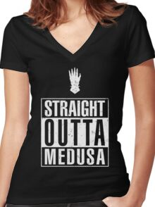Straight Outta Medusa Women's Fitted V-Neck T-Shirt