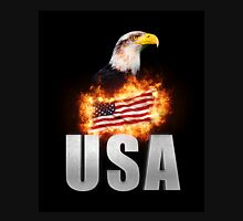 USA Flag on fire with Bald Eagle 4th of July Unisex T-Shirt