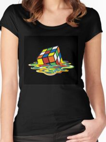 Melting Rubix Cube Women's Fitted Scoop T-Shirt
